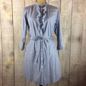 GAP Ruffle Front Pinstripe Tie Shirt Dress Sz 14